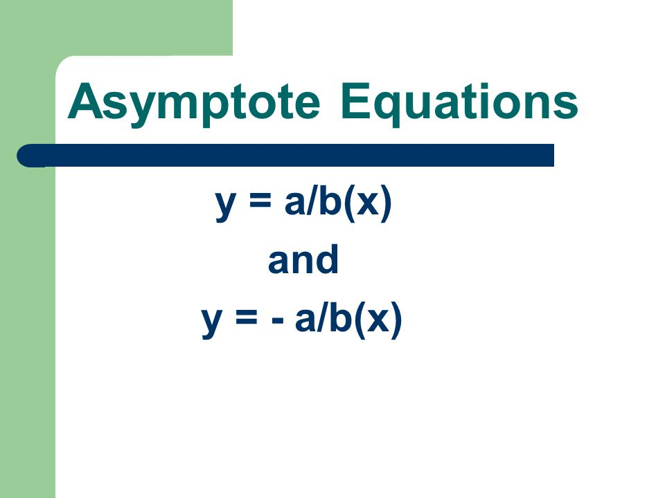 Asymptote Equations y = a/b(x) and y = - a/b(x)