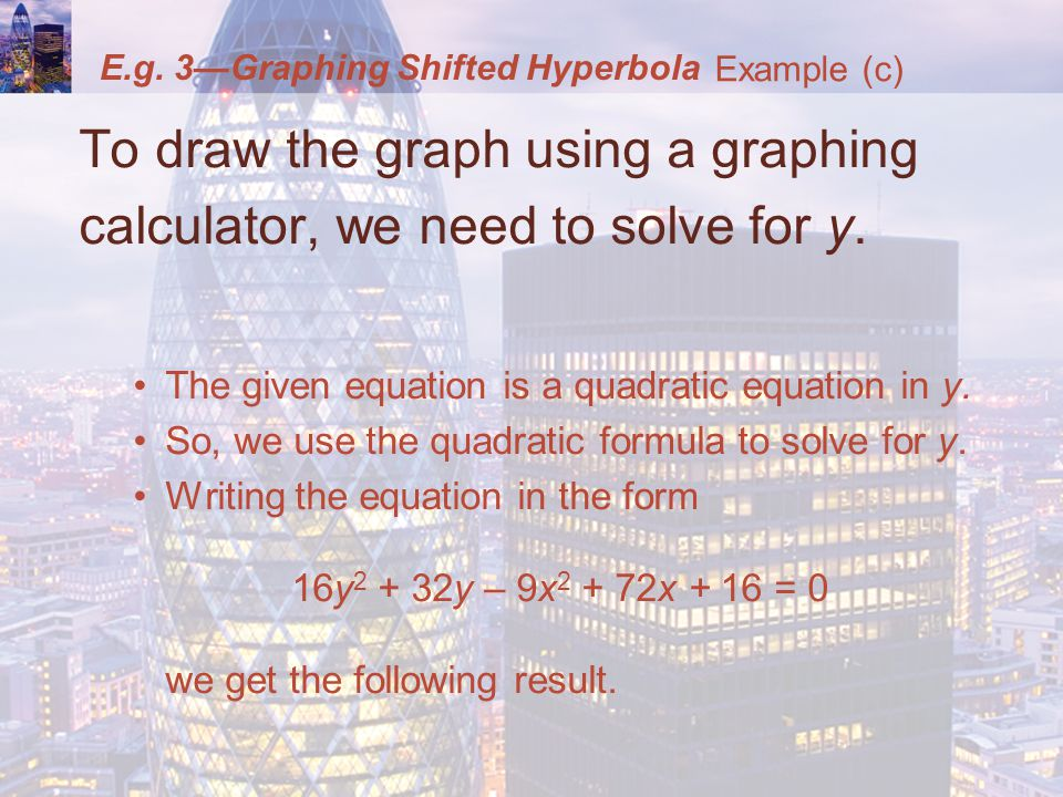 E.g. 3—Graphing Shifted Hyperbola