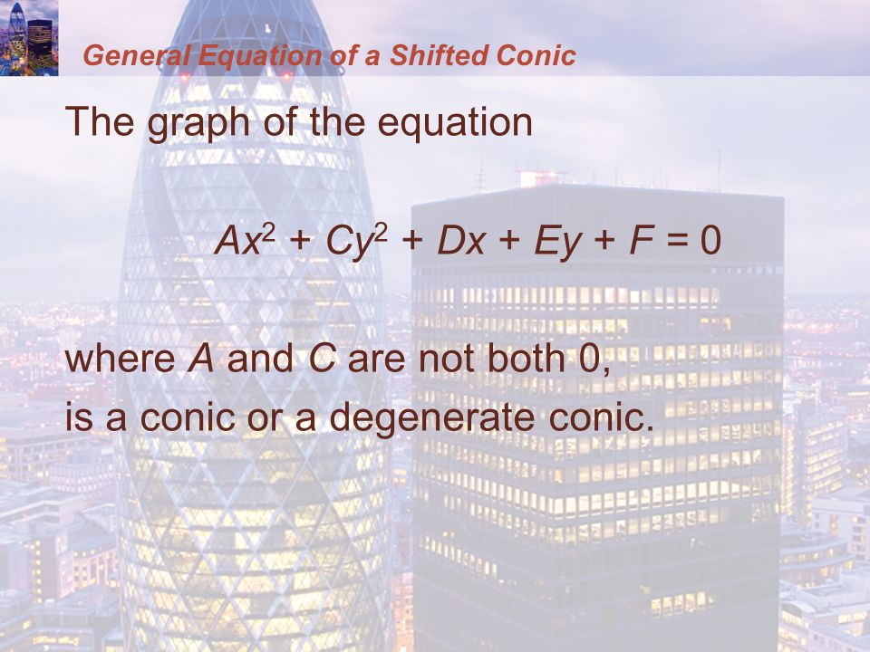 General Equation of a Shifted Conic