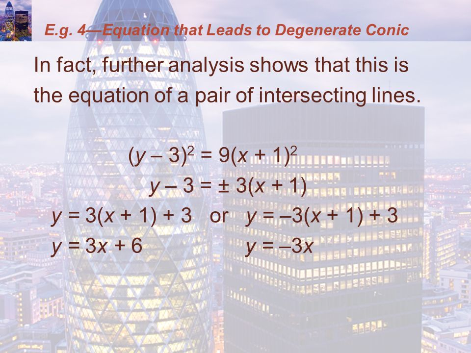 E.g. 4—Equation that Leads to Degenerate Conic