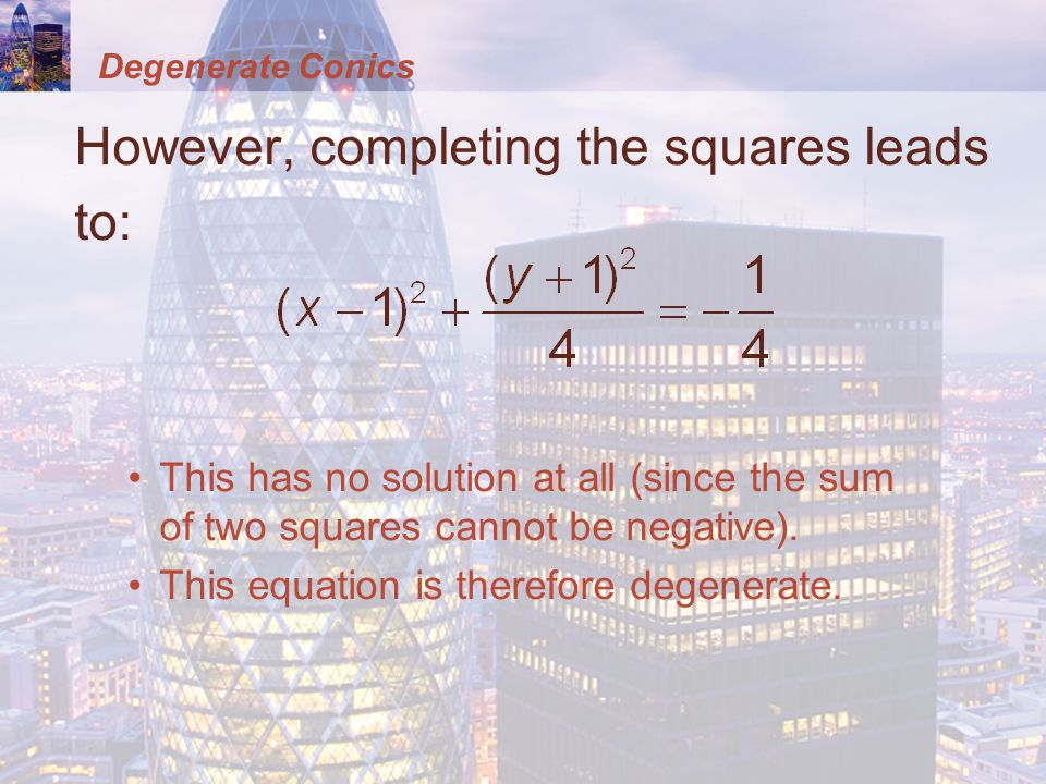 However, completing the squares leads to: