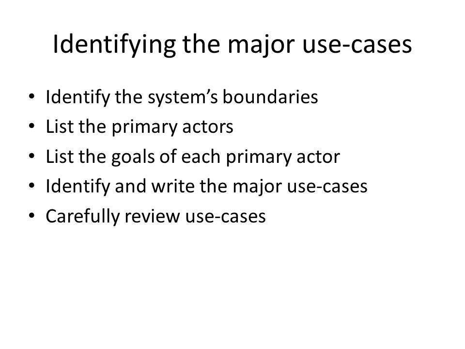 Identifying the major use-cases
