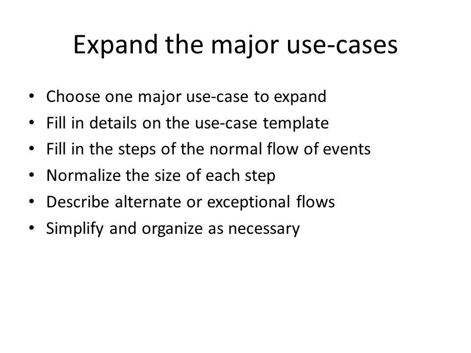 Expand the major use-cases