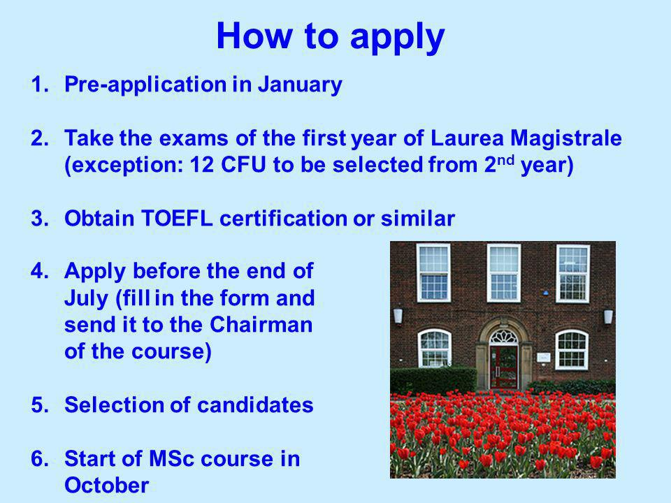 How to apply Pre-application in January