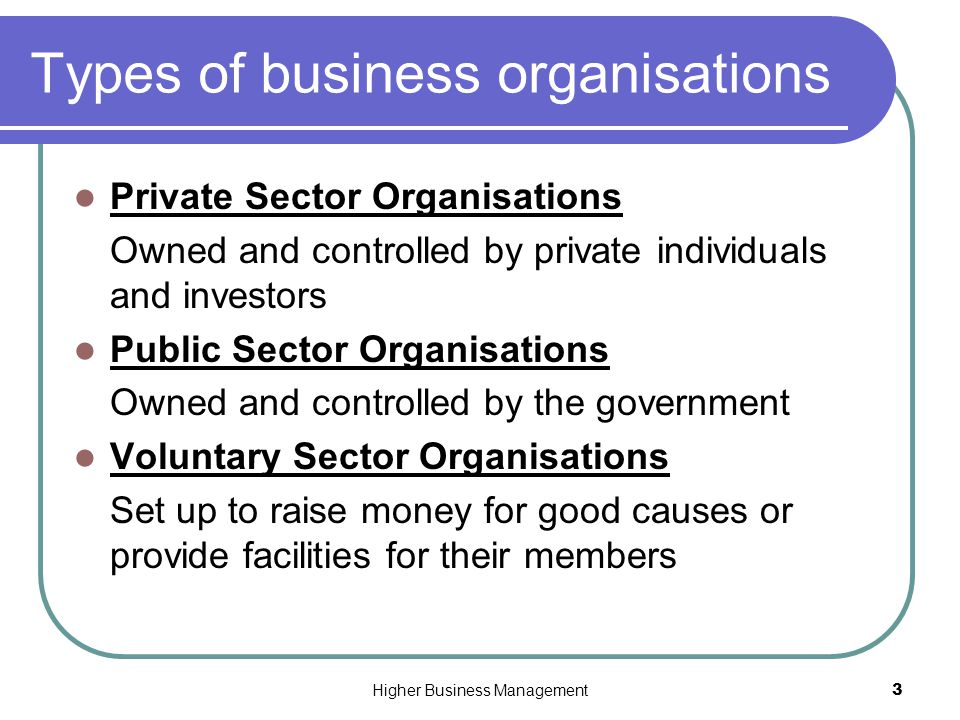 types of business sectors The three basic types of business organizations that comprise the business sector are proprietorship, partnership, and corporation this is one of the four macroeconomic sectors the other three are household sector, government sector, and foreign sector.