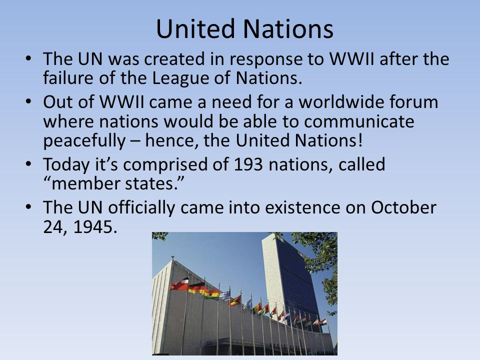 The League of Nations and the United Nations