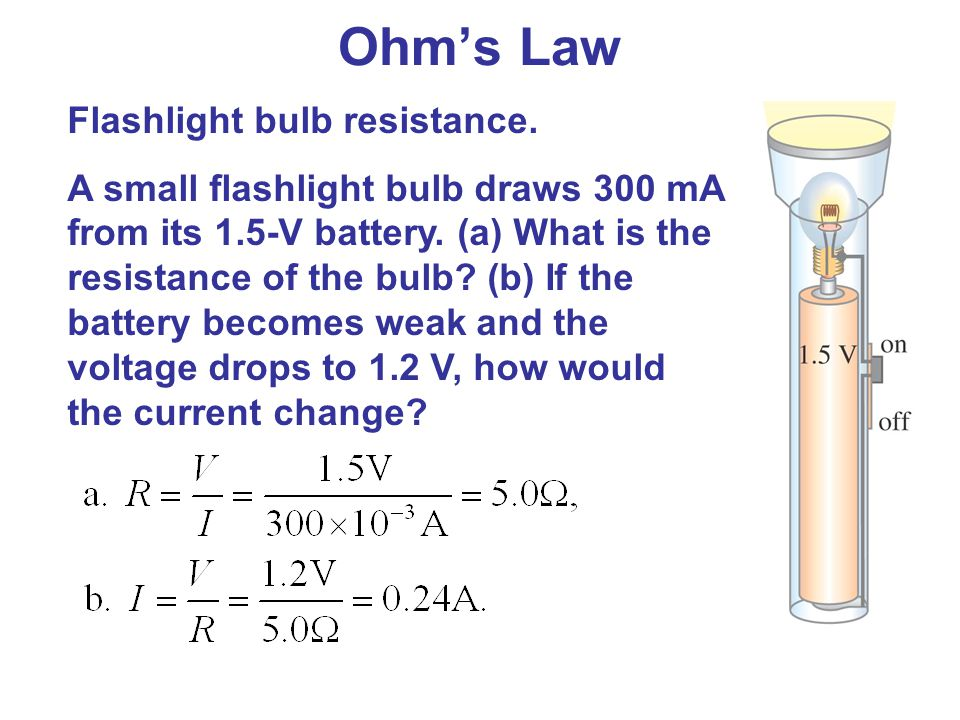 Ohm's Law Flashlight bulb resistance.