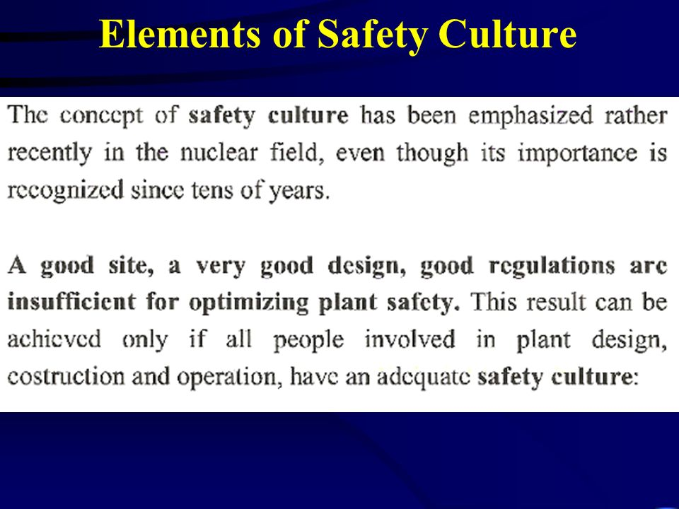 Elements of Safety Culture