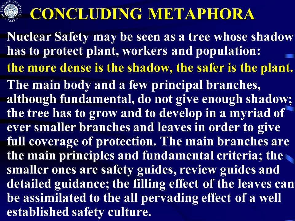 CONCLUDING METAPHORA Nuclear Safety may be seen as a tree whose shadow has to protect plant, workers and population: