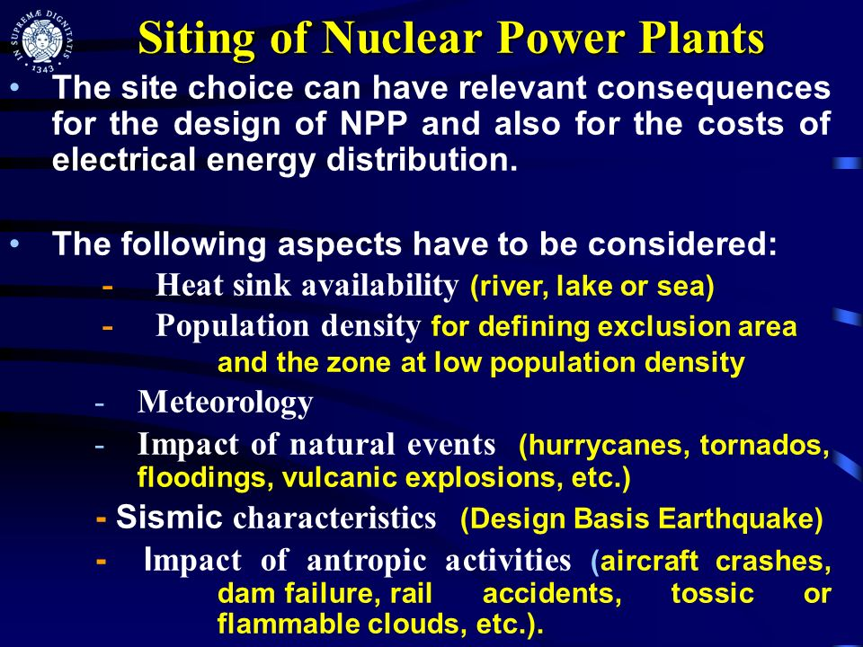 Siting of Nuclear Power Plants