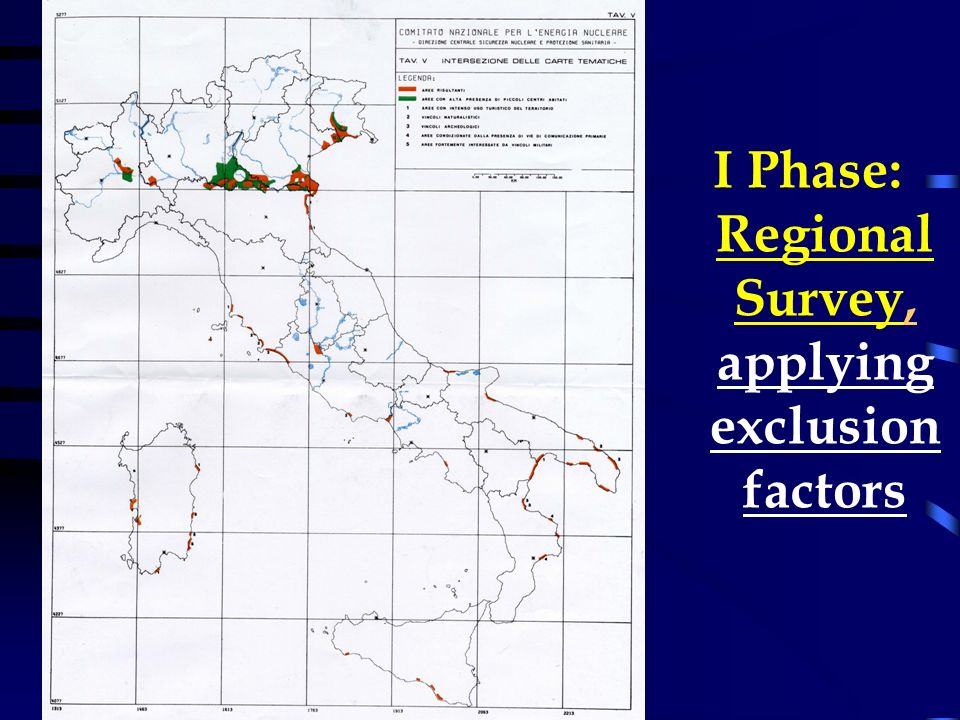 I Phase: Regional Survey, applying exclusion factors