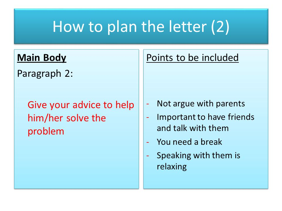 How to plan the letter (2)