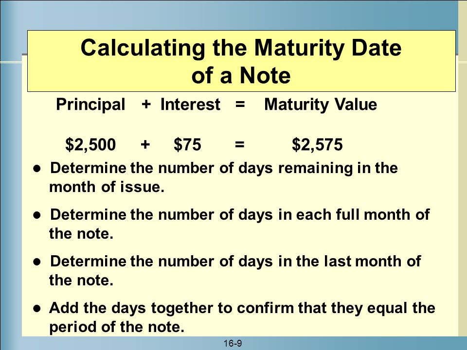 how to calculate maturity date of a note