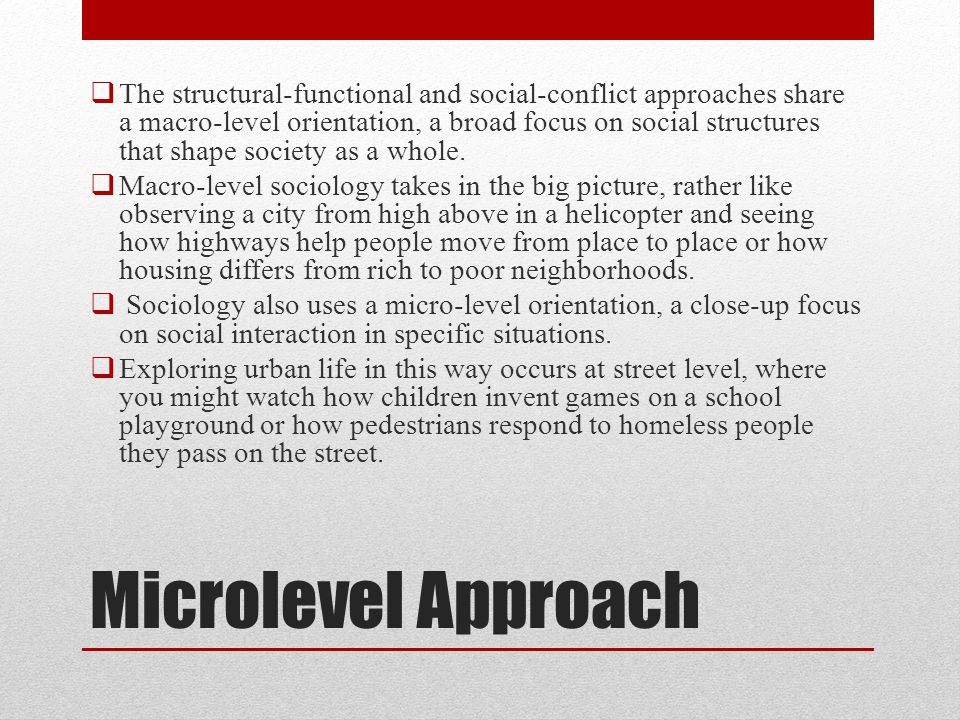 The structural-functional and social-conflict approaches share a macro-level orientation, a broad focus on social structures that shape society as a whole.
