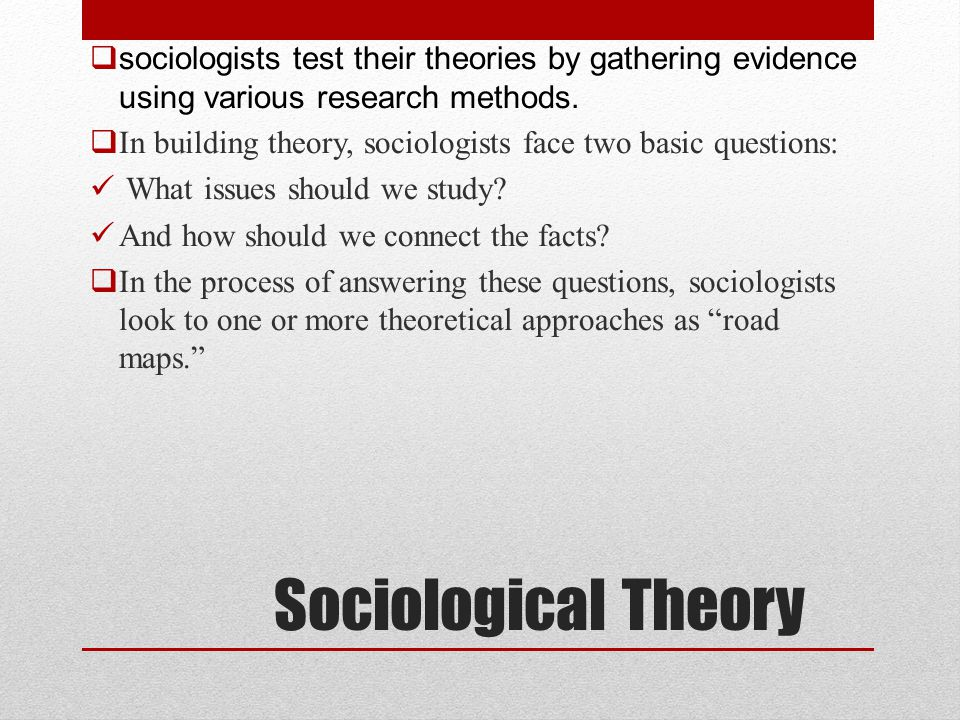 sociologists test their theories by gathering evidence using various research methods.