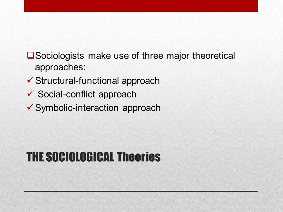 THE SOCIOLOGICAL Theories