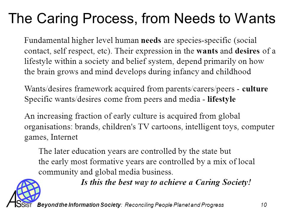 The Caring Process, from Needs to Wants
