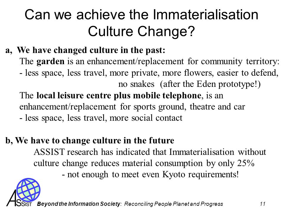 Can we achieve the Immaterialisation Culture Change