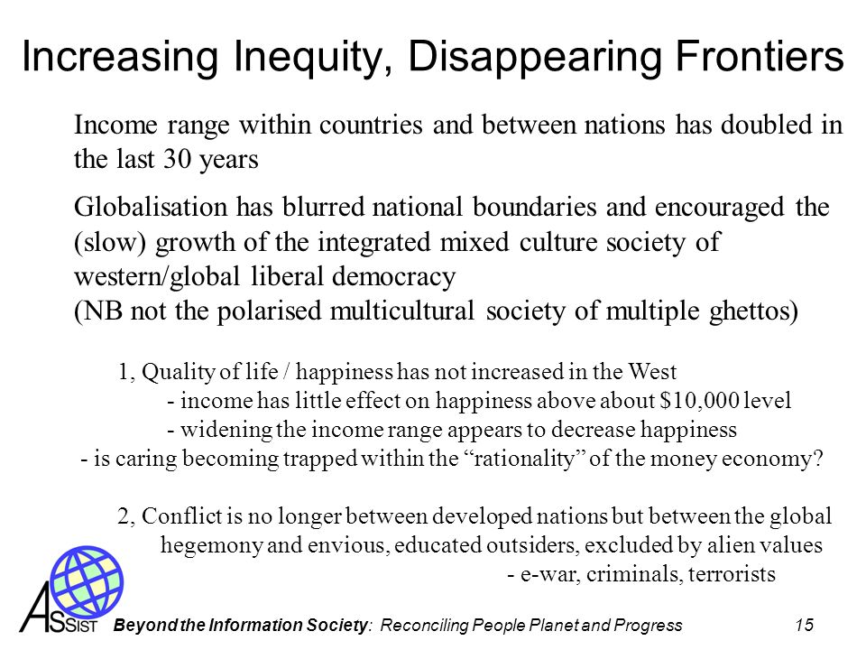 Increasing Inequity, Disappearing Frontiers