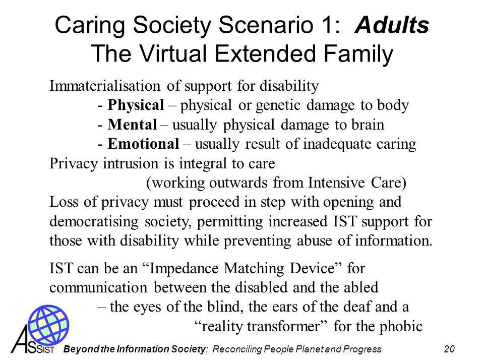 Caring Society Scenario 1: Adults The Virtual Extended Family
