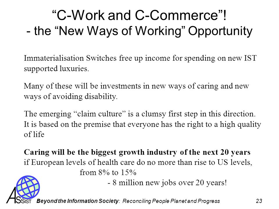 C-Work and C-Commerce ! - the New Ways of Working Opportunity