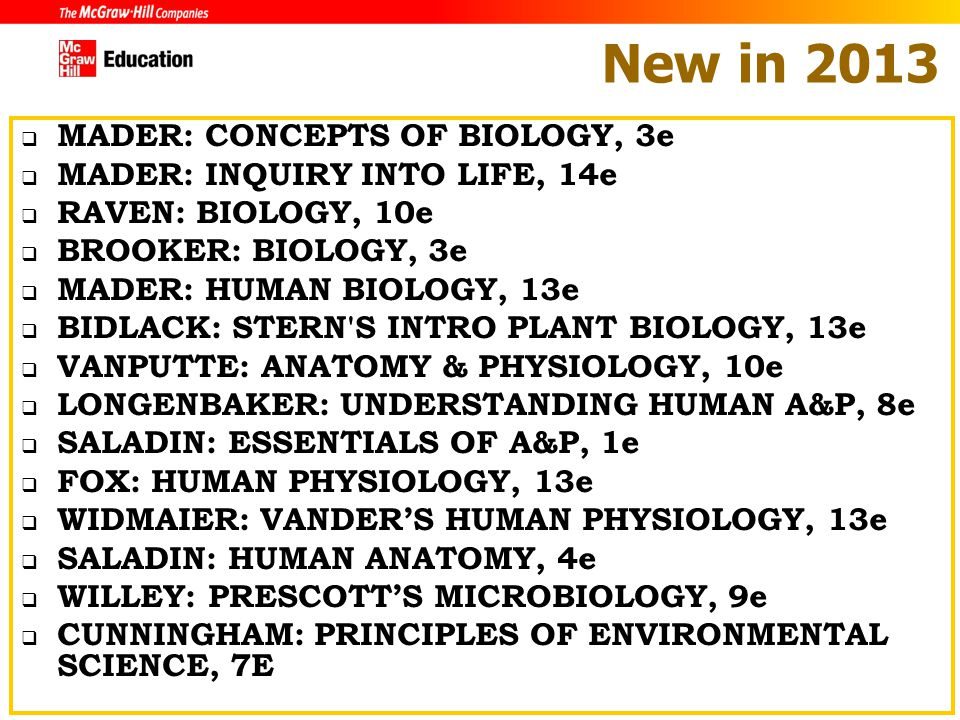 Mcgraw hill education summer sales conference ppt download new in 2013 mader concepts of biology 3e fandeluxe Image collections