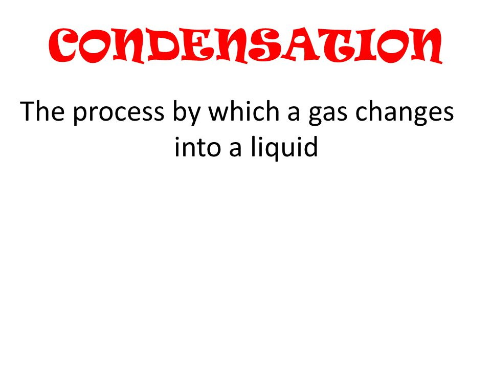 The process by which a gas changes into a liquid