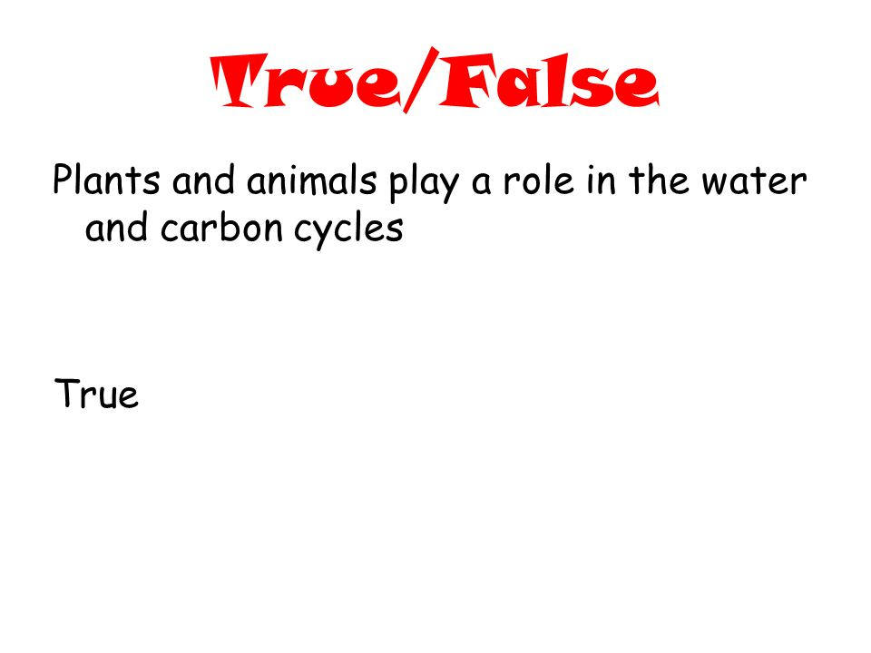 True/False Plants and animals play a role in the water and carbon cycles True