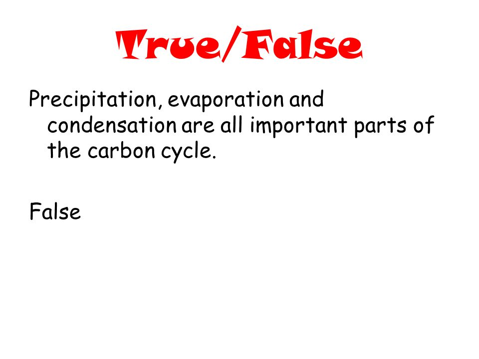 True/False Precipitation, evaporation and condensation are all important parts of the carbon cycle.