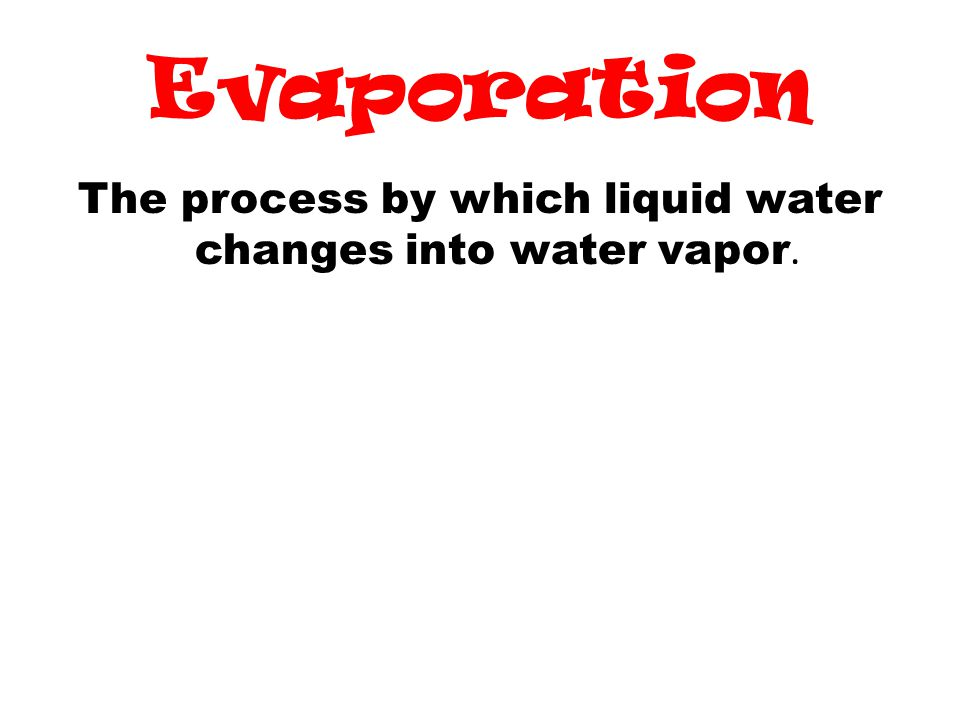 The process by which liquid water changes into water vapor.