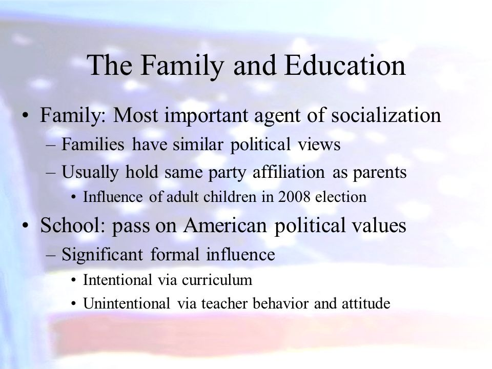 which are the most important factors in political socialization Socialization is important in the process of personality formation while much of human personality is the result of our genes, the socialization process can mold it in particular directions by encouraging specific beliefs and attitudes as well as selectively providing experiences.