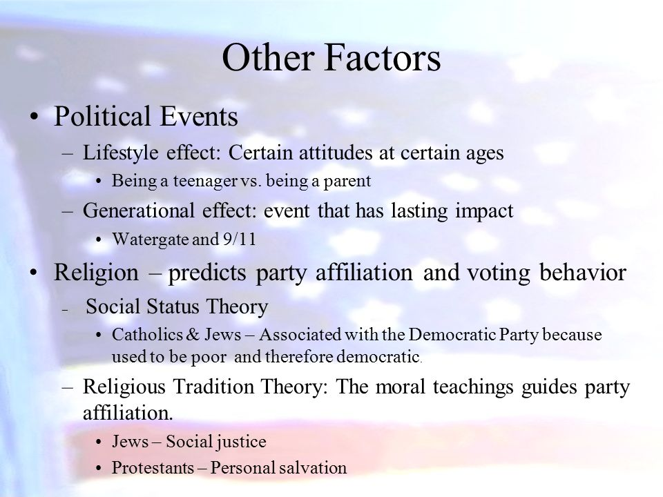 the factors affecting politics and political events Two factors have produced our polarized politics first in short, today's polarization is the product of today's issues and yesterday's political realignment the reactions of liberals and conservatives to these developments have been vastly different and those divergent reactions are driving the debate.