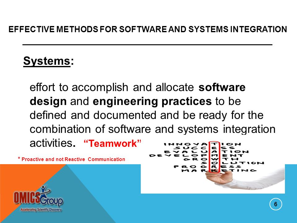Effective Methods for Software and Systems Integration