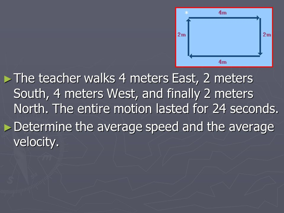 Determine the average speed and the average velocity.