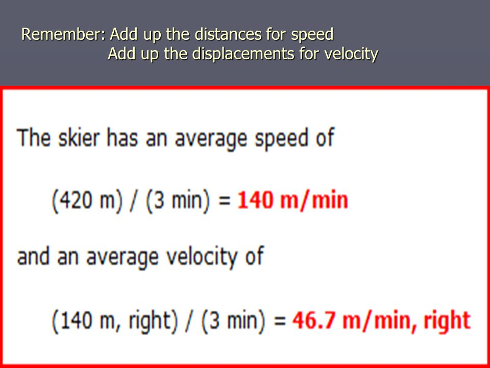 Remember: Add up the distances for speed Add up the displacements for velocity