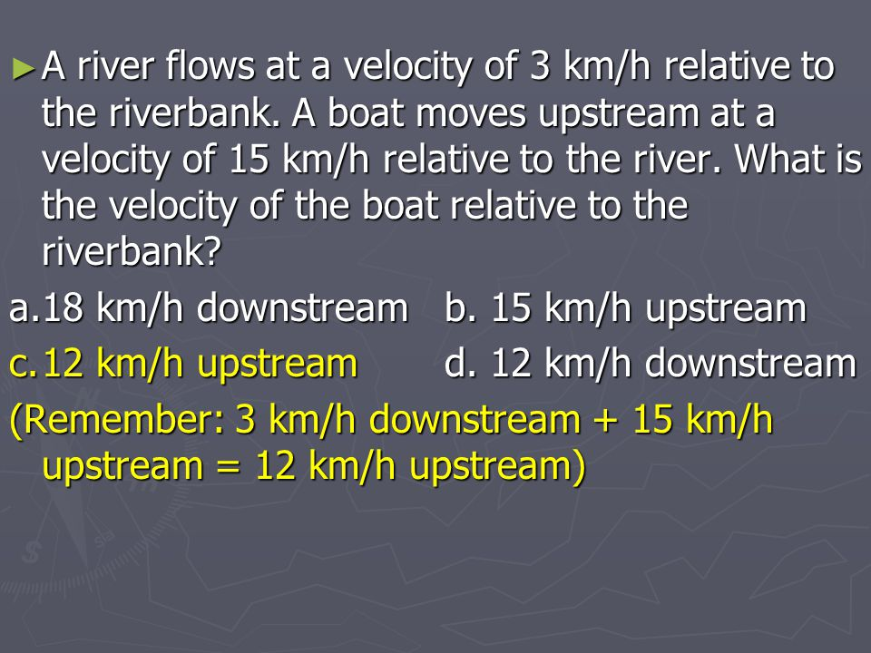 A river flows at a velocity of 3 km/h relative to the riverbank