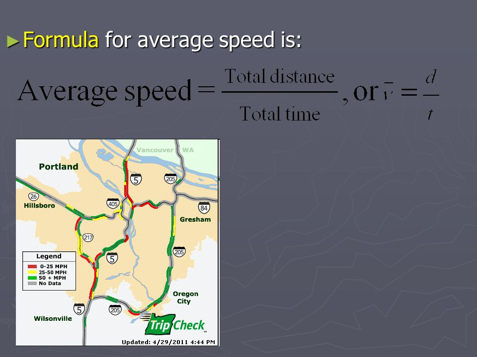 Formula for average speed is: