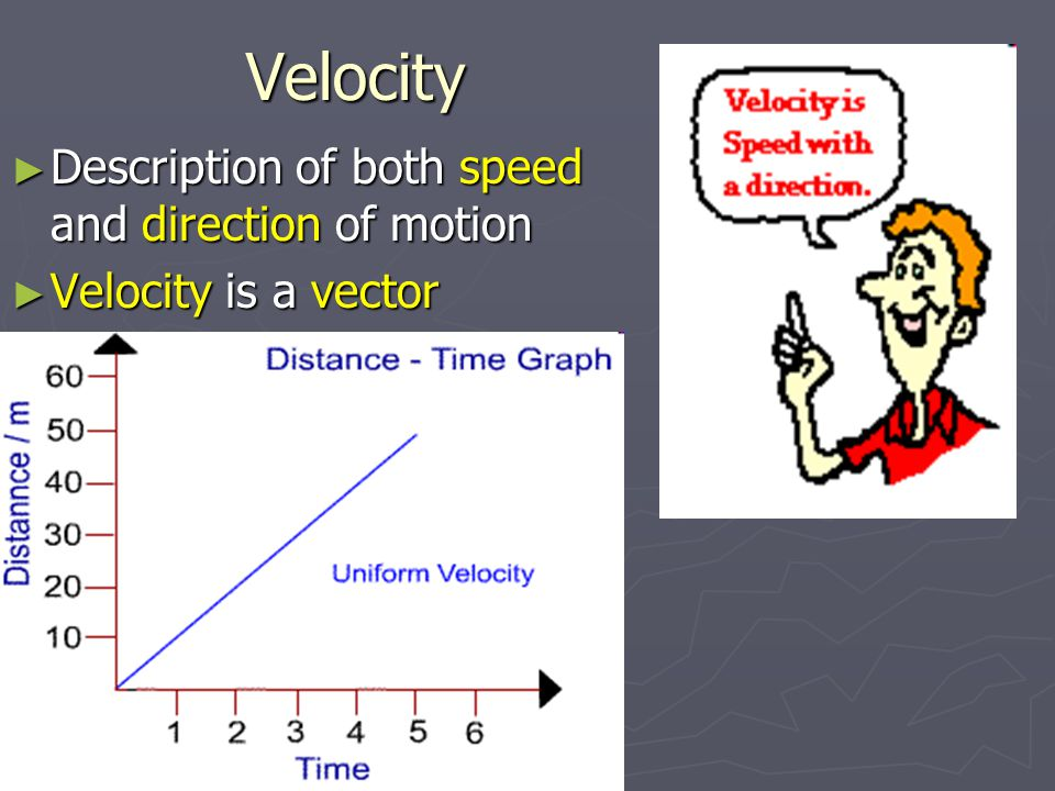 Velocity Description of both speed and direction of motion
