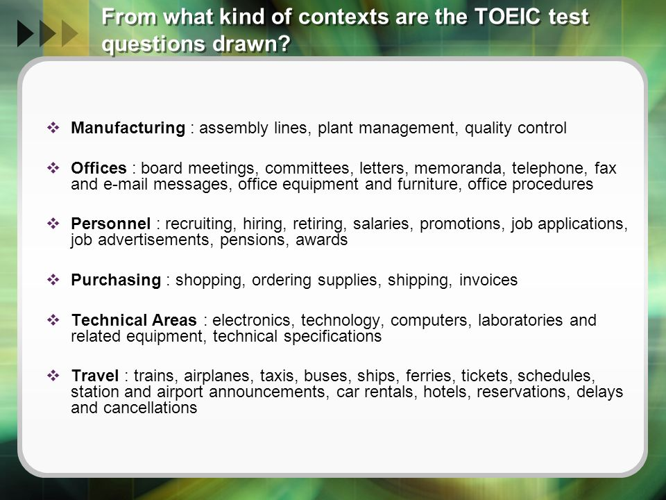 Enhanced toeic format ppt video online download for Furniture quiz questions