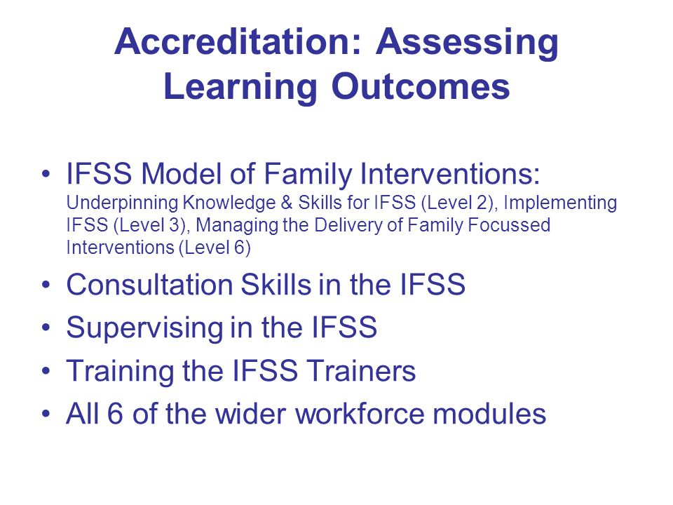 Accreditation: Assessing Learning Outcomes