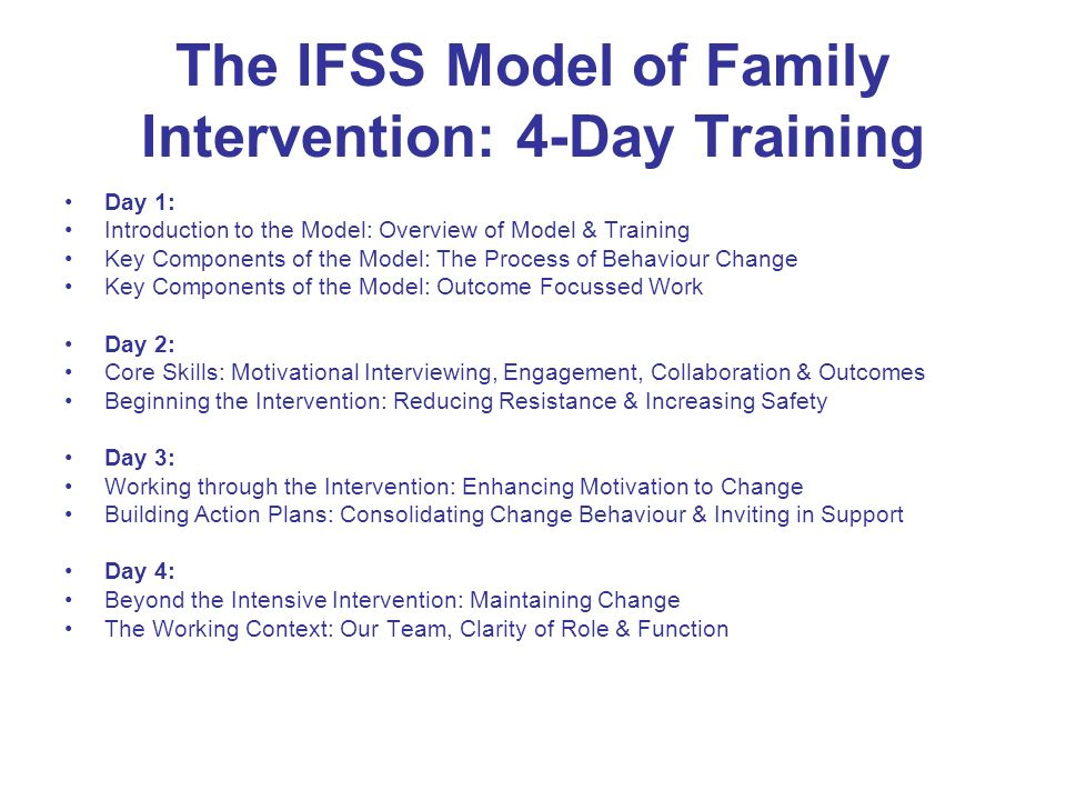 The IFSS Model of Family Intervention: 4-Day Training