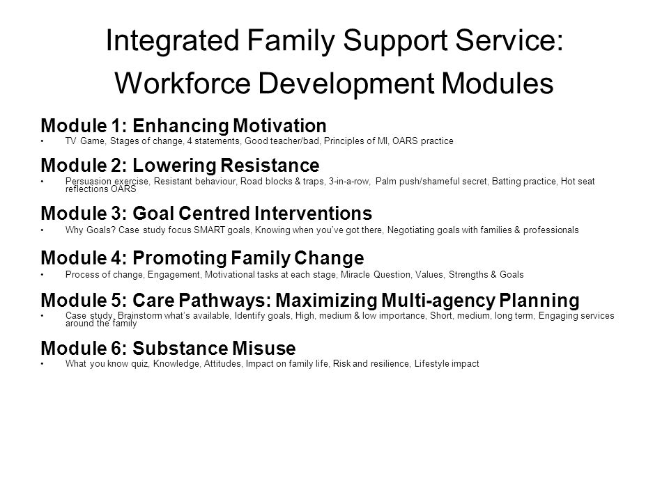 Integrated Family Support Service: Workforce Development Modules