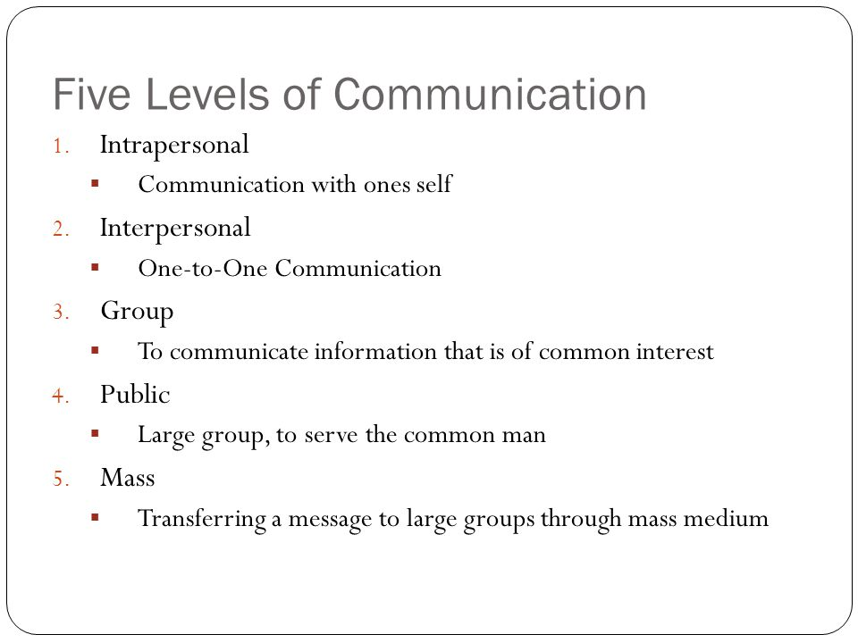 The Five Levels of Communication in a Connected World