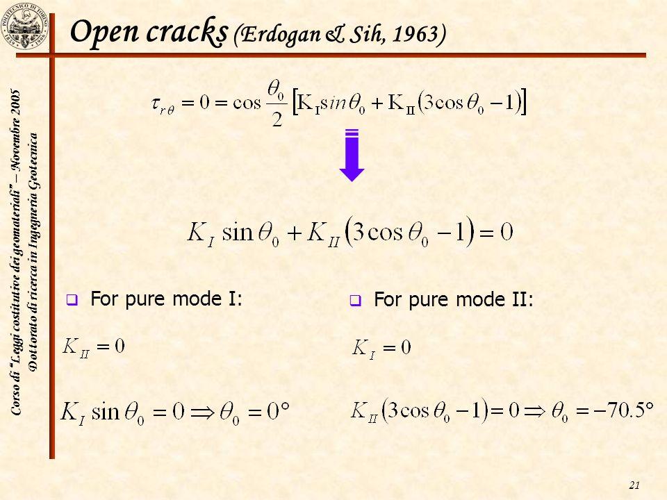 Open cracks (Erdogan & Sih, 1963)