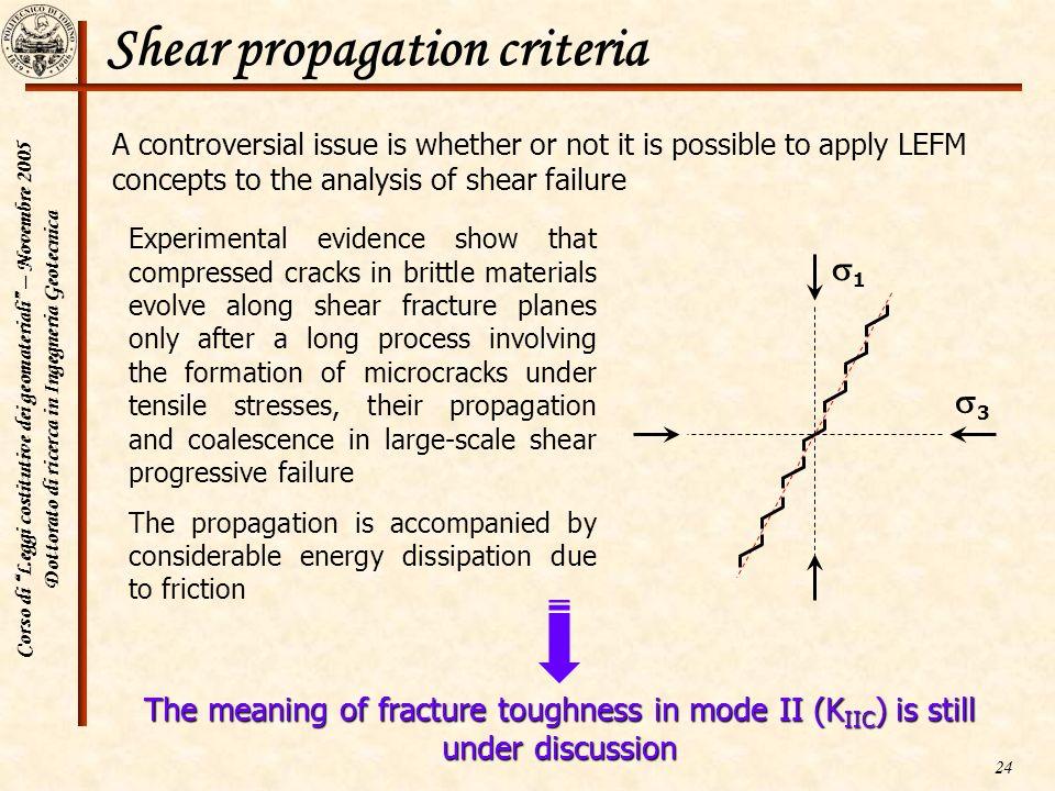 Shear propagation criteria