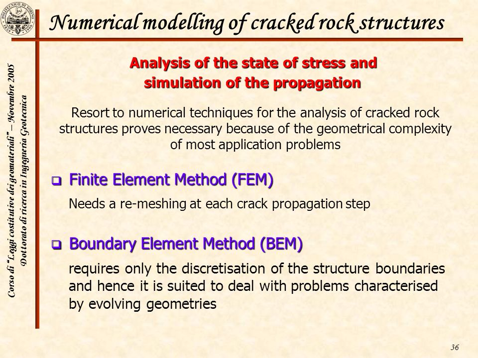 Numerical modelling of cracked rock structures