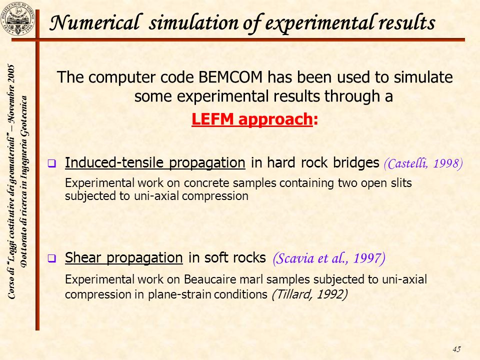 Numerical simulation of experimental results