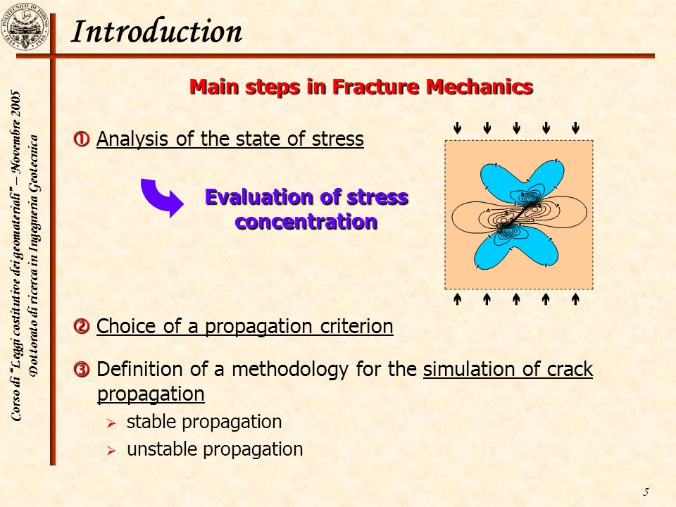 Main steps in Fracture Mechanics Evaluation of stress concentration