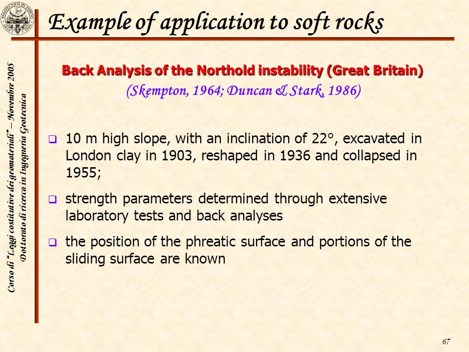 Example of application to soft rocks