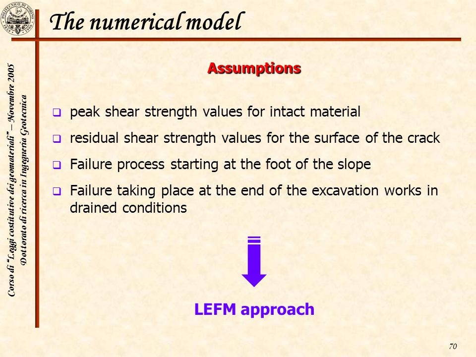 The numerical model LEFM approach Assumptions